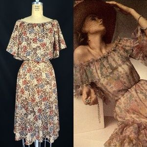 70's Sheer Floral Disco Party Cocktail Caped Dress
